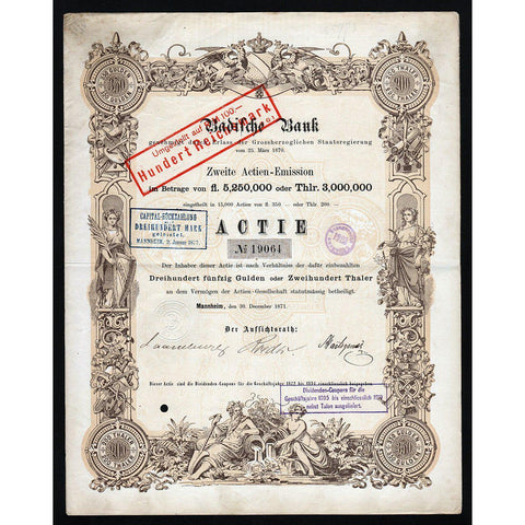 Badische Bank, Germany 1871 Stock Certificate