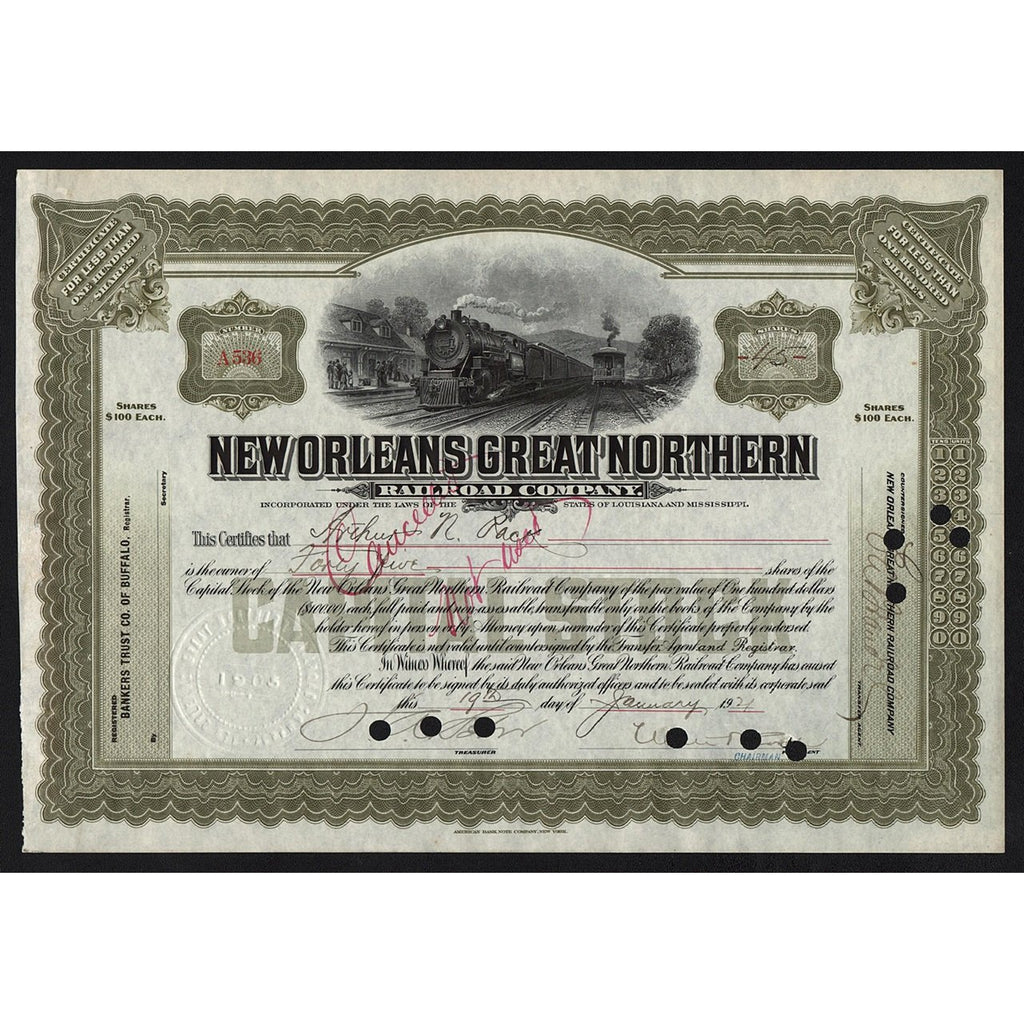 New Orleans Great Northern Railroad Company Stock Certificate