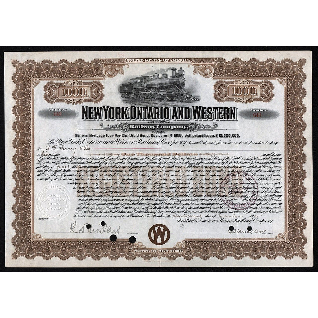 New York, Ontario and Western Railway Company, 1915 Gold Bond Certificate