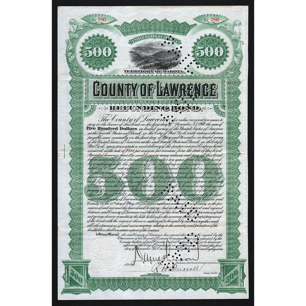 County of Lawrence (Dakota) 1887 Bond Certificate