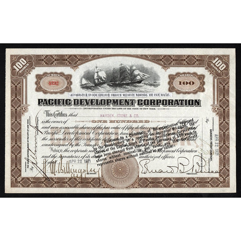 Pacific Development Corporation New York Stock Certificate