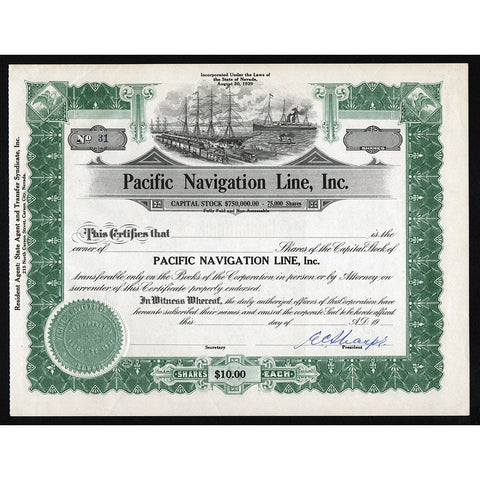 Pacific Navigation Line, Inc. Nevada Stock Certificate