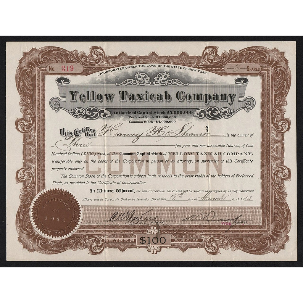 Yellow Taxicab Company 1913 New York Stock Certificate