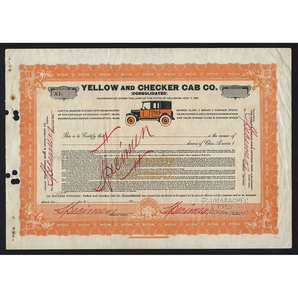 Yellow and Checker Cab. Co. (Specimen) Stock Certificate