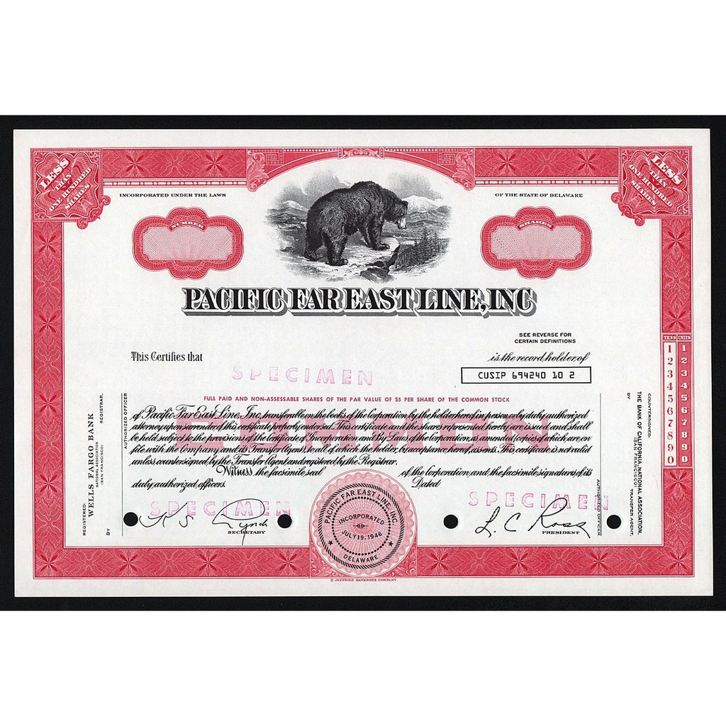 Pacific Far East Line, Inc. Specimen Stock Certificate