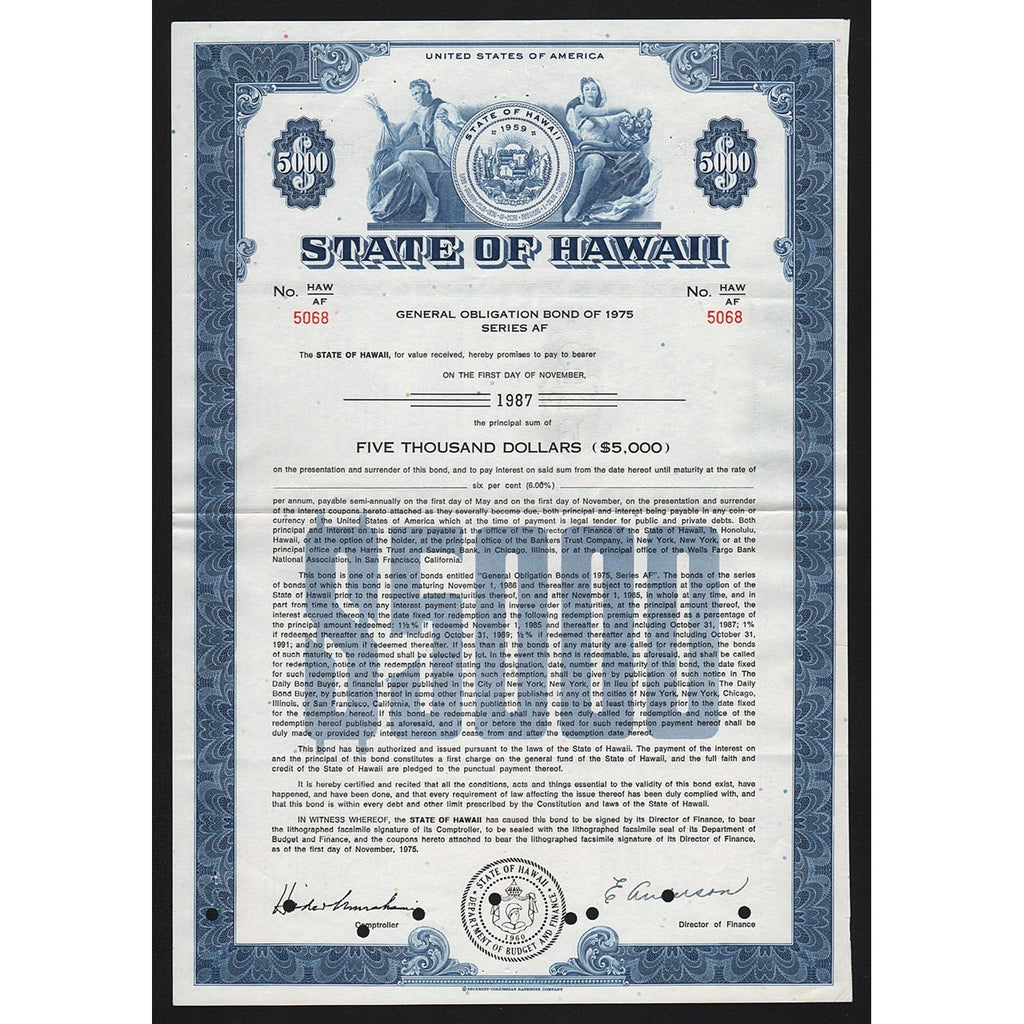 State of Hawaii General Obligation Bond Certificate