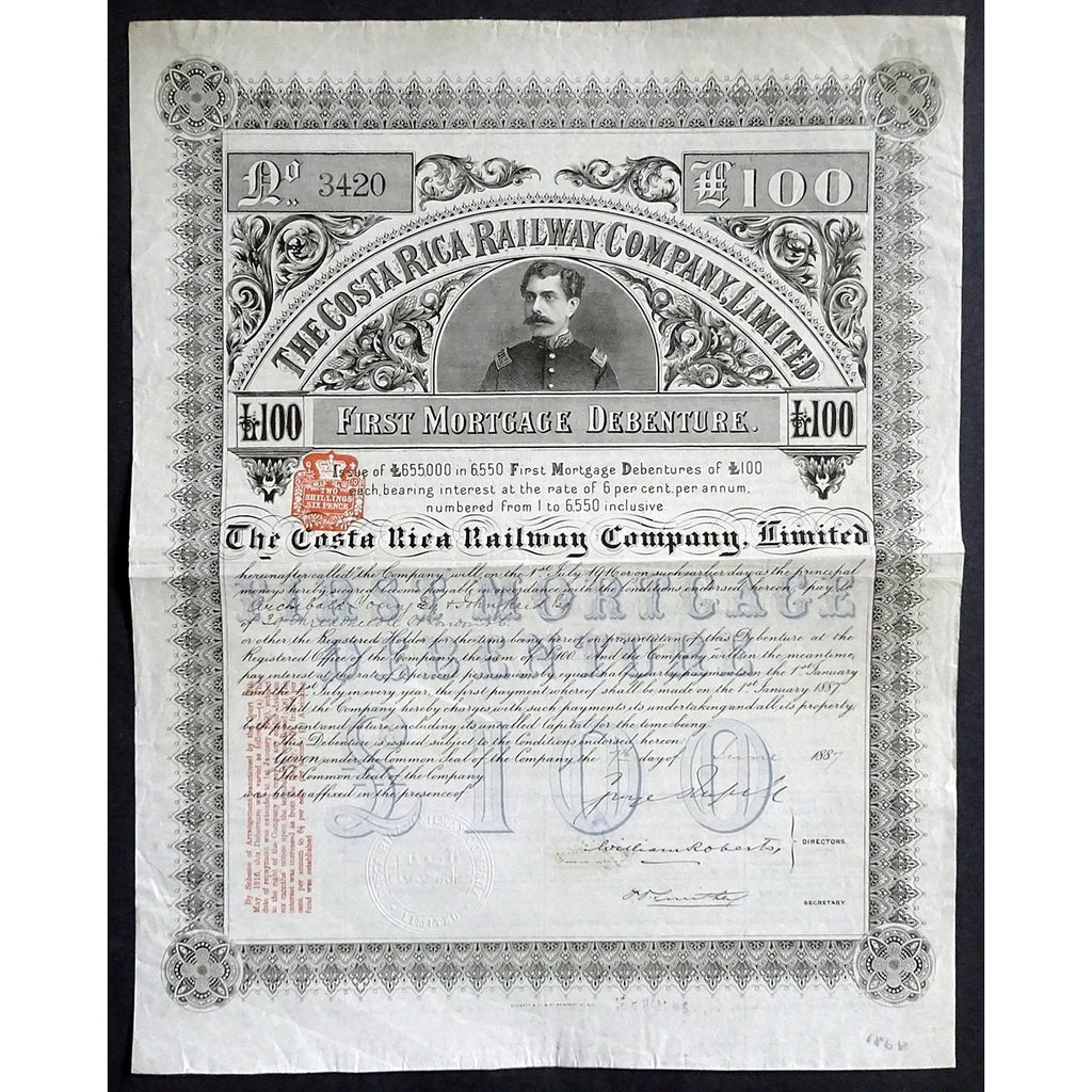 The Costa Rica Railway Company, Limited Stock Bond Certificate