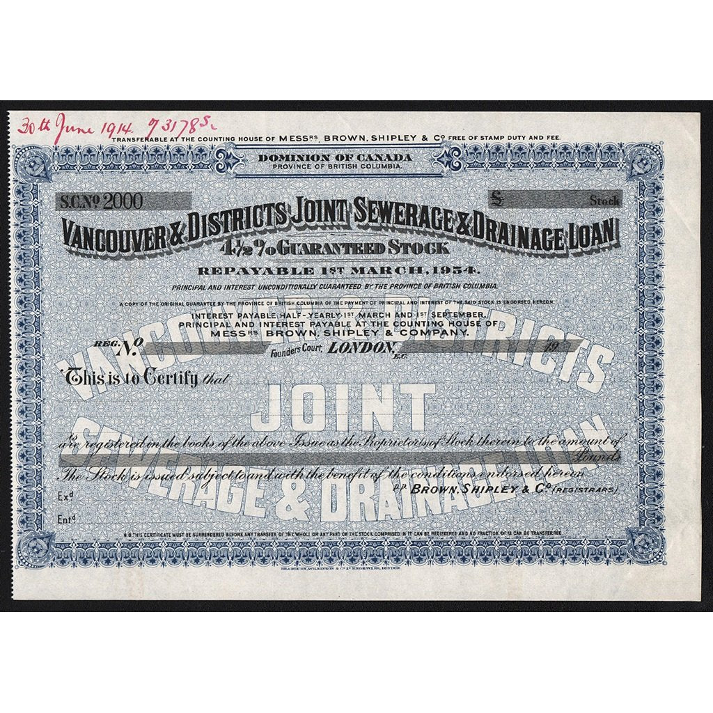 Vancouver & Districts Joint Sewerage & Drainage Loan Stock Certificate