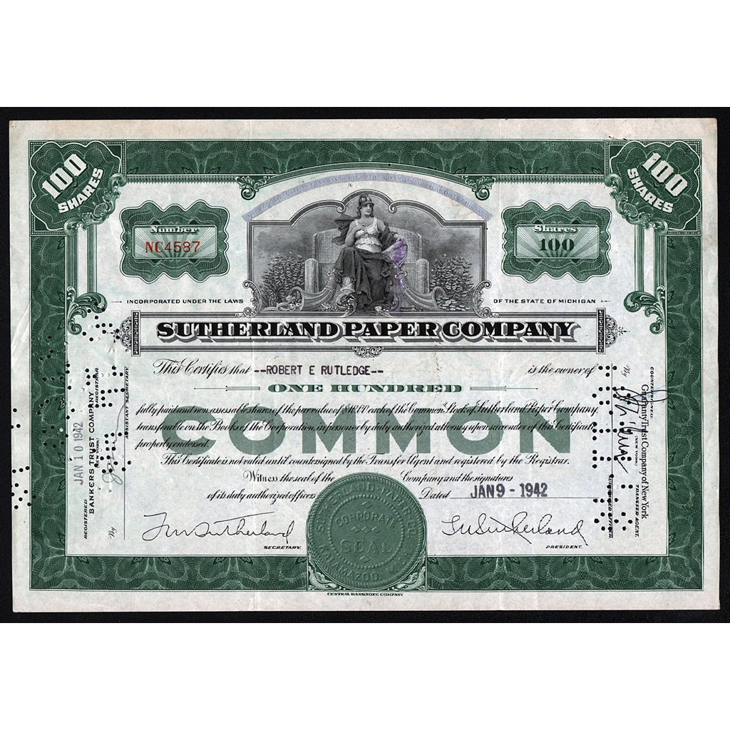 Sutherland Paper Company Michigan Stock Certificate