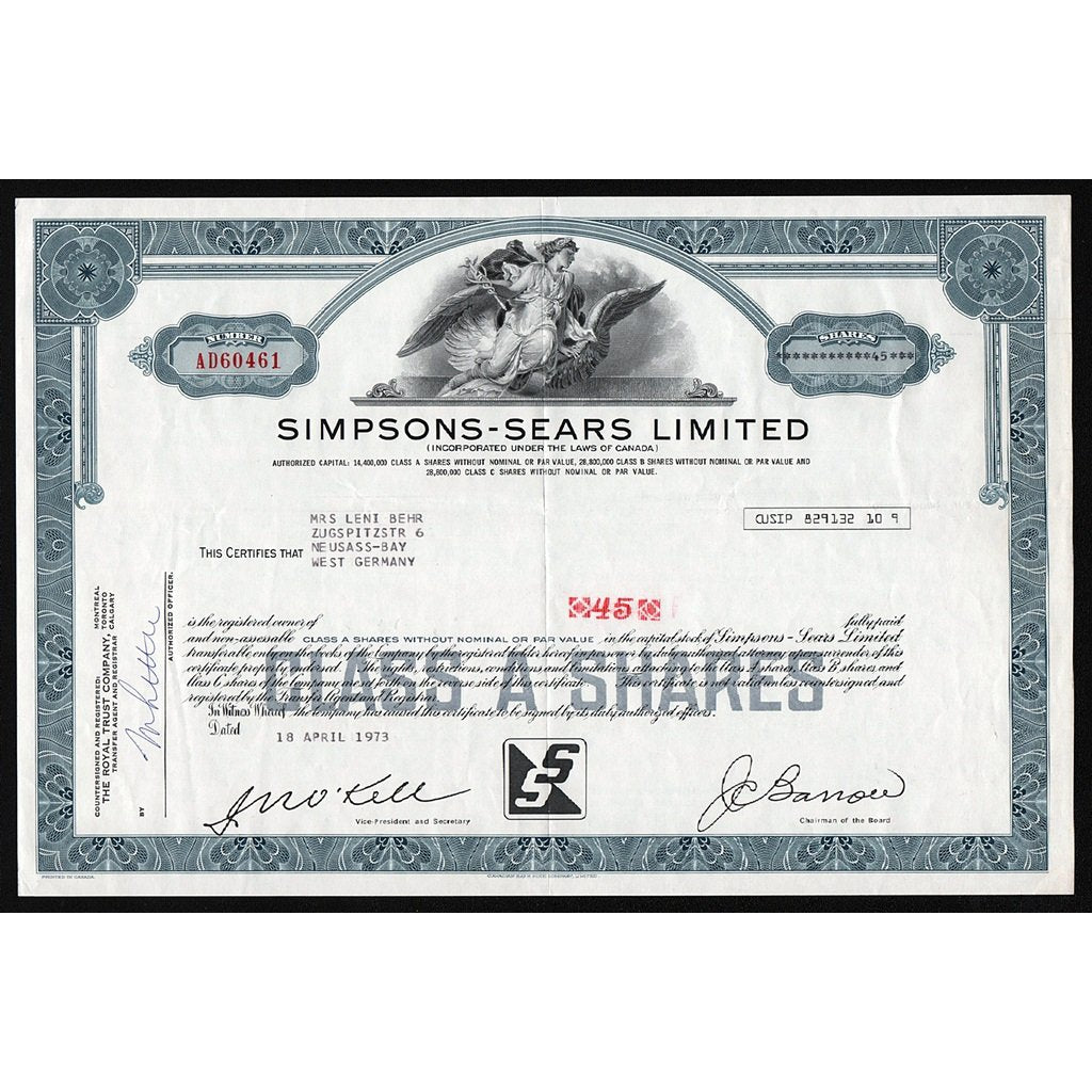 Simpsons-Sears, Limited Department Store Canada Stock Certificate