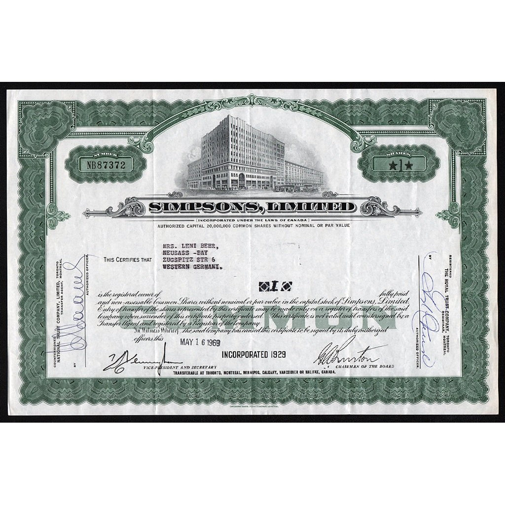 Simpsons, Limited Stock Certificate