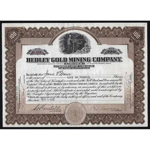 Hedley Gold Mining Company British Columbia Stock Certificate