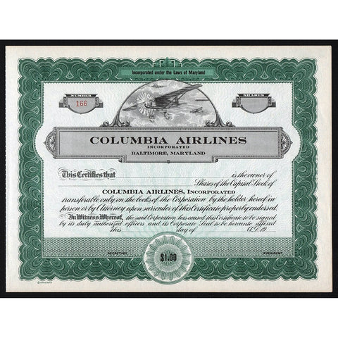 Columbia Airlines Incorporated Stock Certificate
