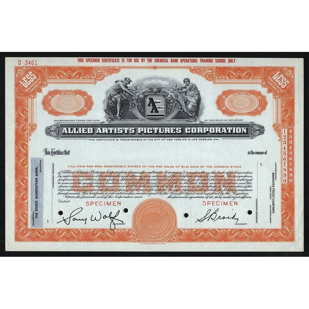 Allied Artists Pictures Corporation Stock Certificate