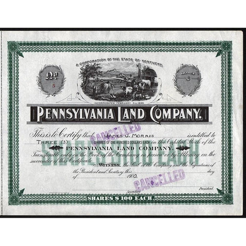Pennsylvania Land Company (Kentucky) Stock Certificate
