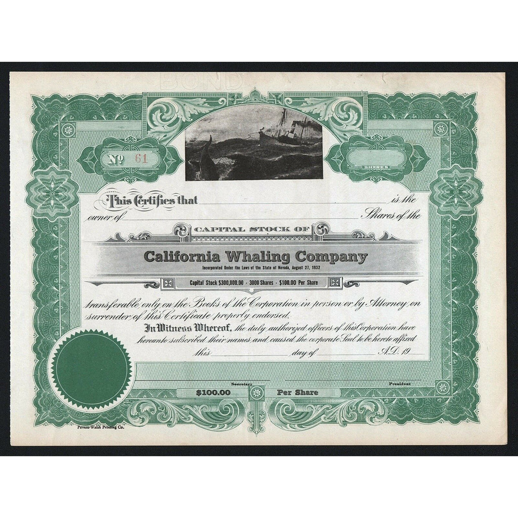 California Whaling Company Stock Certificate