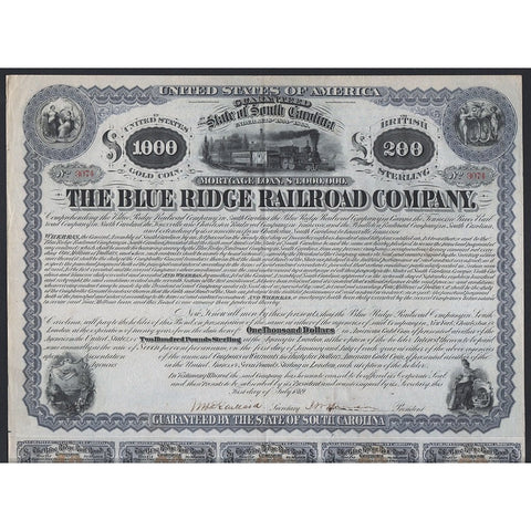 The Blue Ridge Railroad Company 1869 South Carolina Bond Certificate