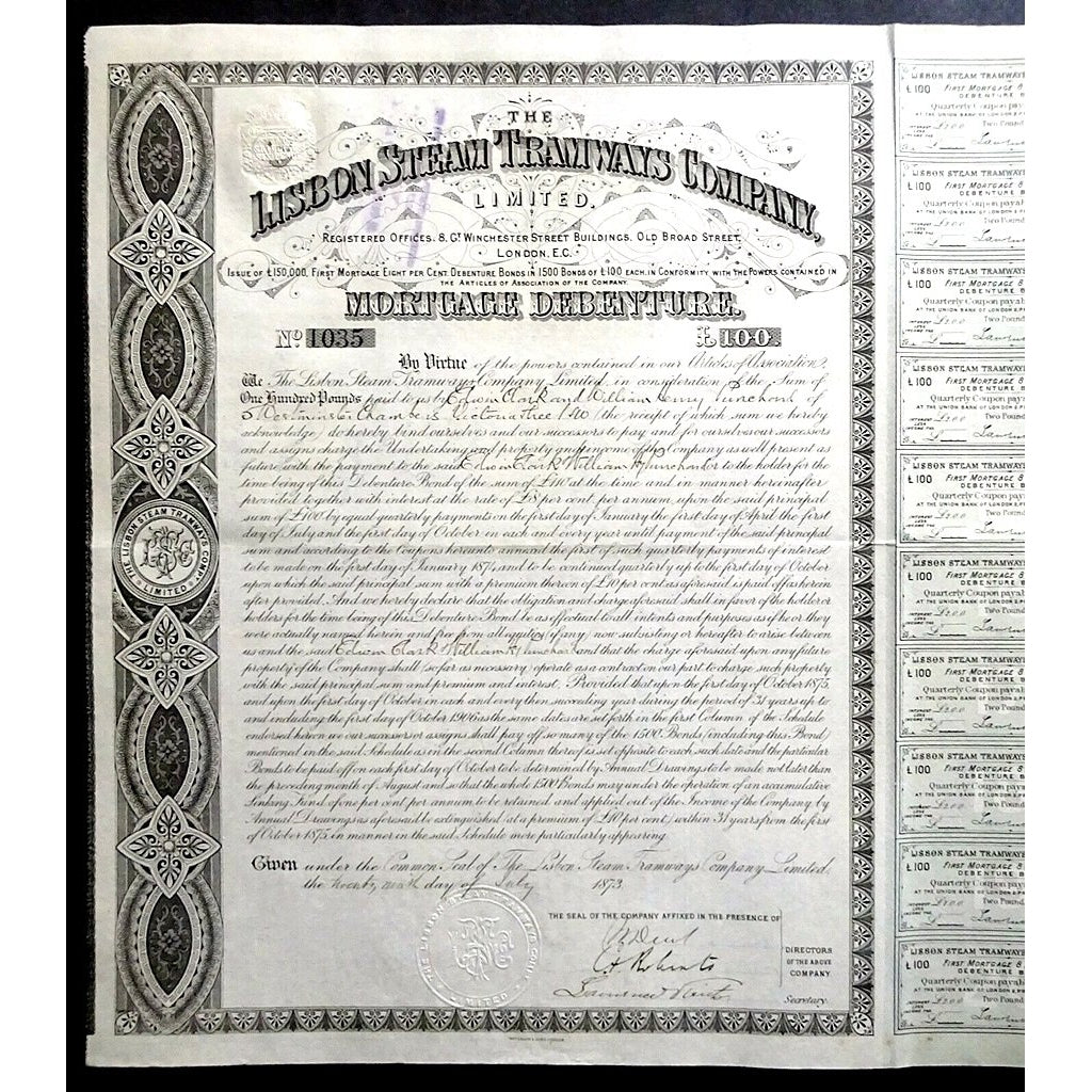 The Lisbon Steam Tramways Company 1873 £100 Mortgage Debenture Bond Certificate