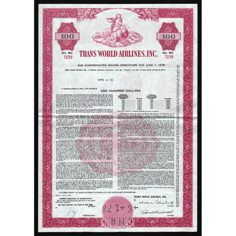 TWA - Trans World Airlines, Inc. Bond Certificate