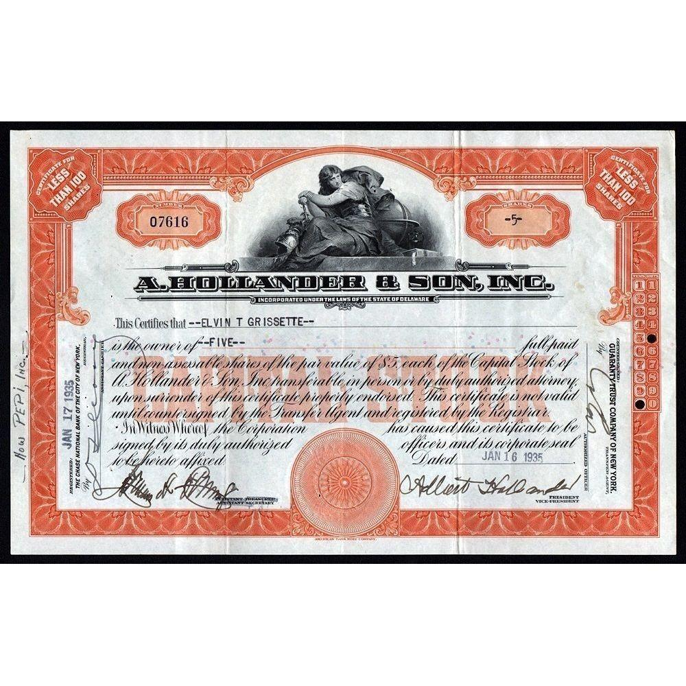 A. Hollander & Son, Inc. Stock Certificate
