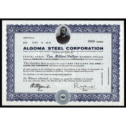 Algoma Steel Corporation Canada Panama Stock Certificate