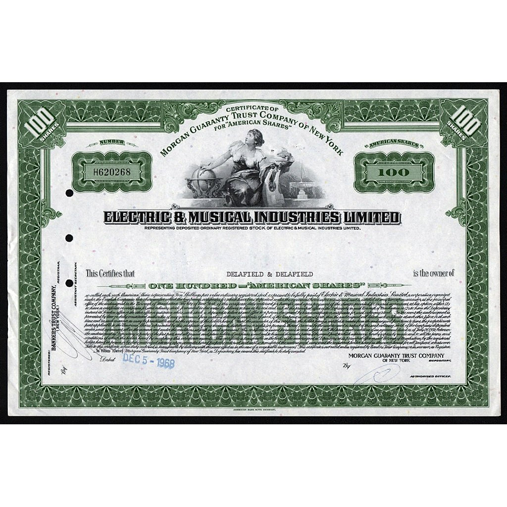EMI - Electric & Musical Industries Limited Stock Certificate