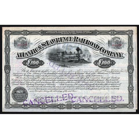 Atlantic & St. Lawrence Railroad Company Canada Stock Certificate