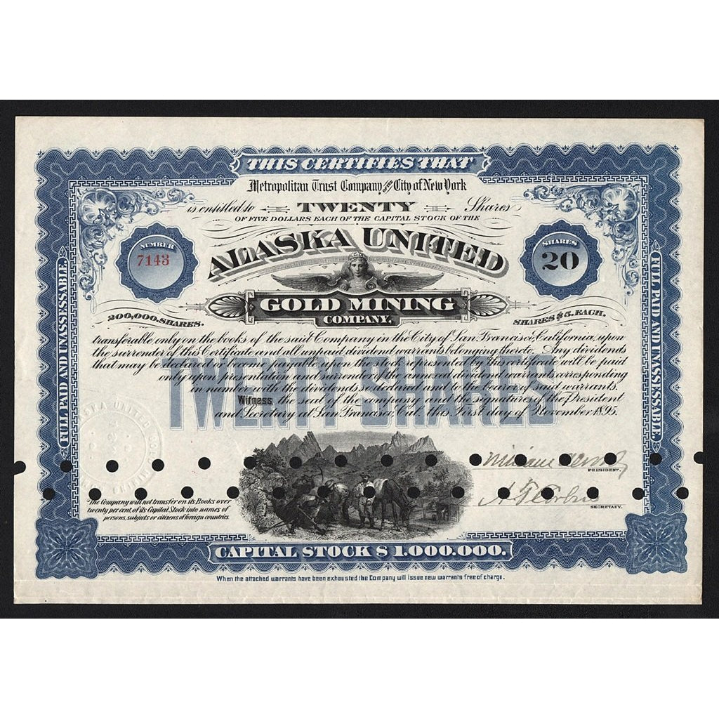 Alaska United Gold Mining Company 1895 Stock Certificate