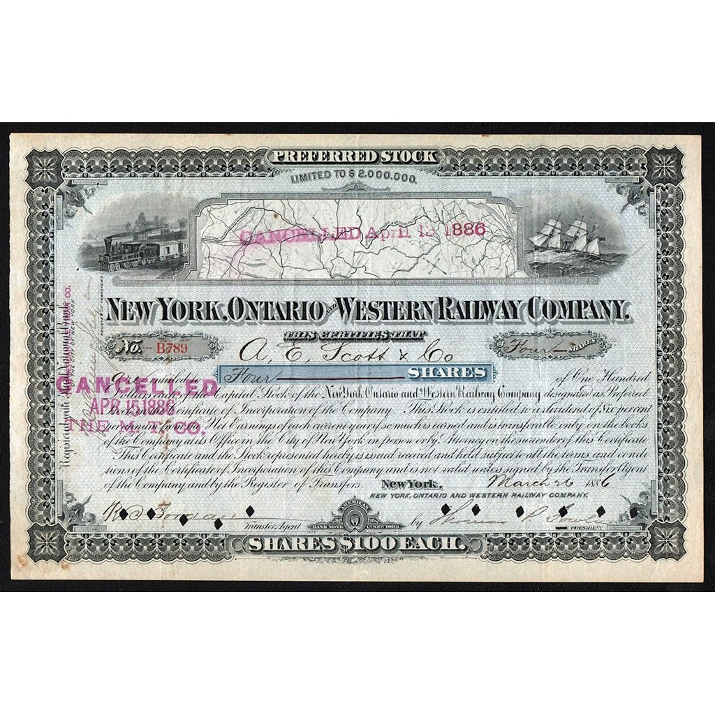 New York, Ontario and Western Railway Company 1886 Stock Certificate