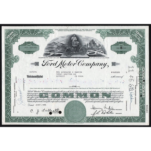 Ford Motor Company Stock Certificate Automobiles
