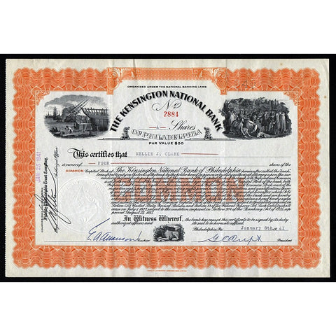 The Kensington National Bank of Philadelphia Stock Certificate