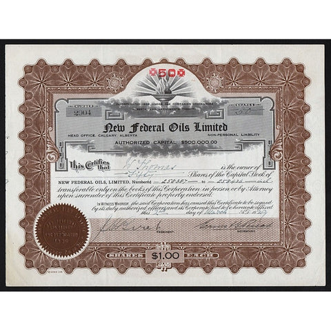 New Federal Oils Limited 1923 Alberta Canada Stock Certificate