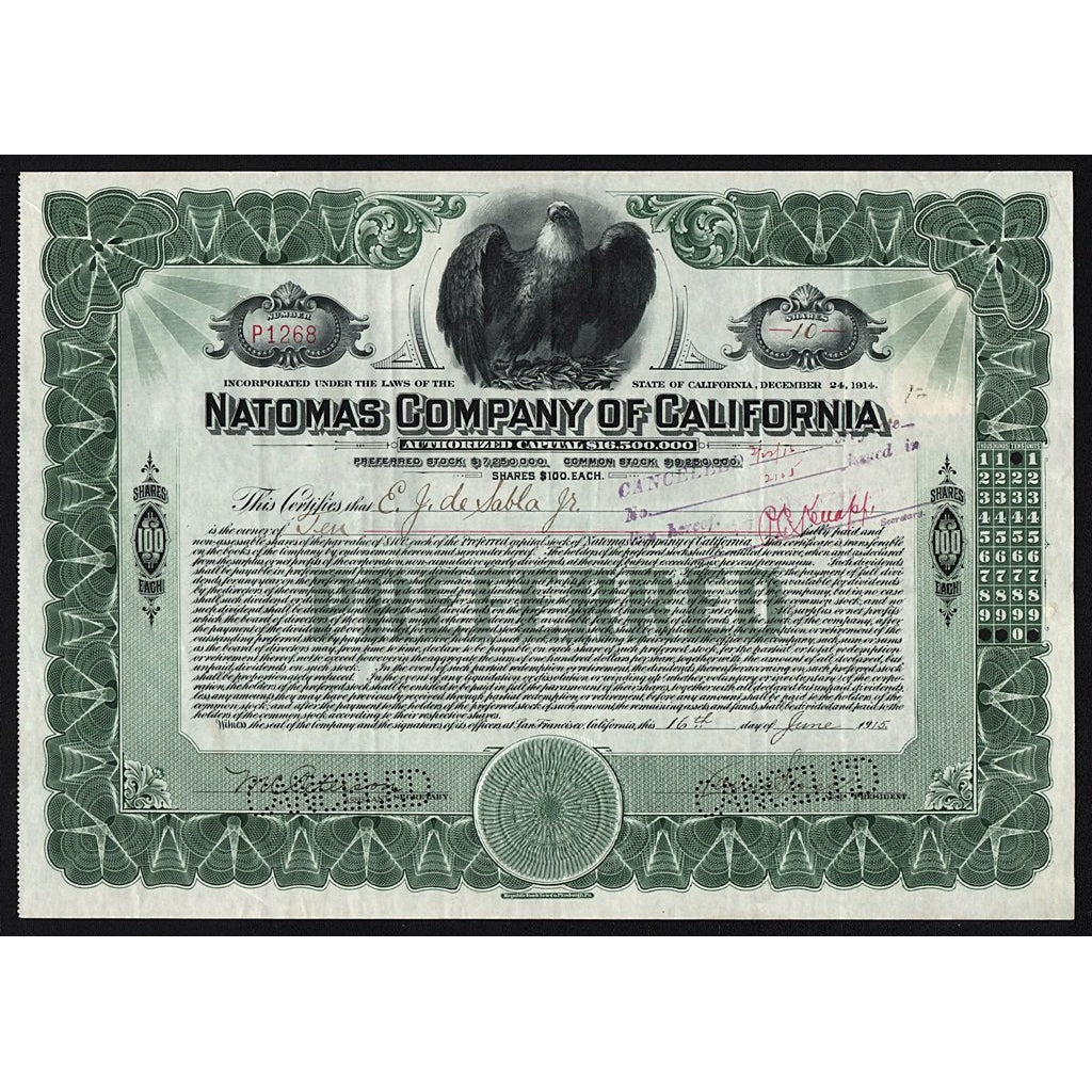 Natomas Company of California 1915 Stock Certificate