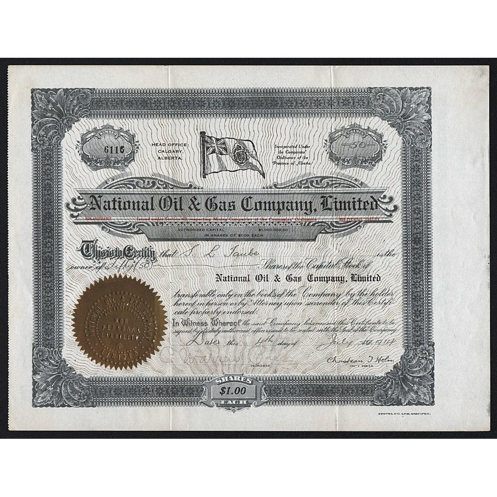 National Oil & Gas Company, Limited 1914 Calgary Alberta Canada Stock Certificate
