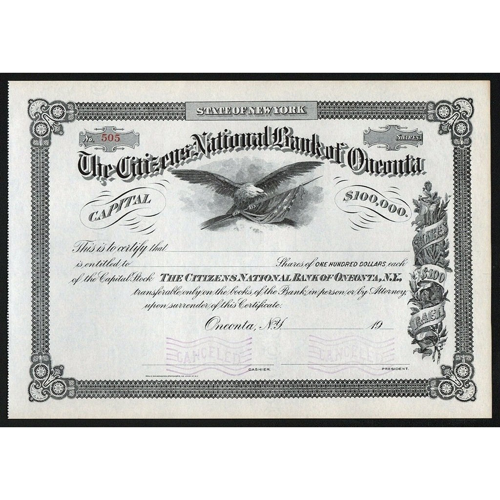 The Citizens National Bank of Oneonta Stock Certificate