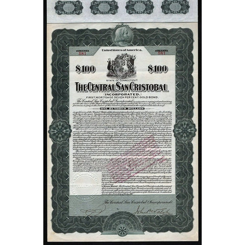 The Central San Cristobal (Incorporated) 1910 Gold Bond Certificate