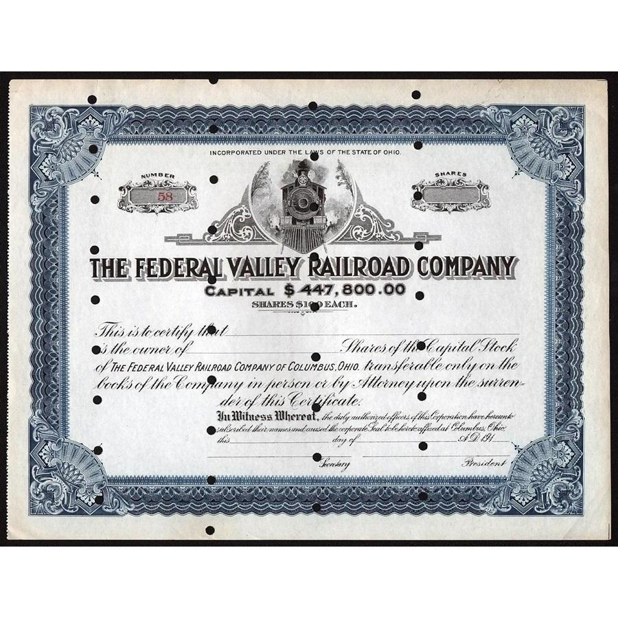 The Federal Valley Railroad Company of Columbus, Ohio Stock Certificate