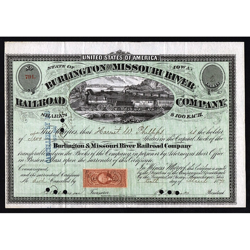 Burlington and Missouri River Railroad Company 1871 Stock Certificate