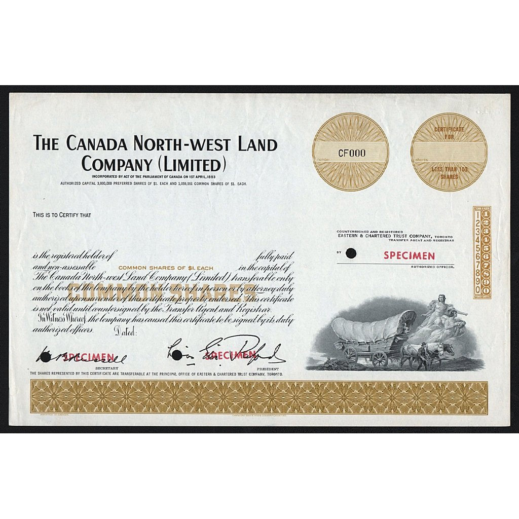 The Canada North-West Land Company (Limited) - Specimen Stock Certificate