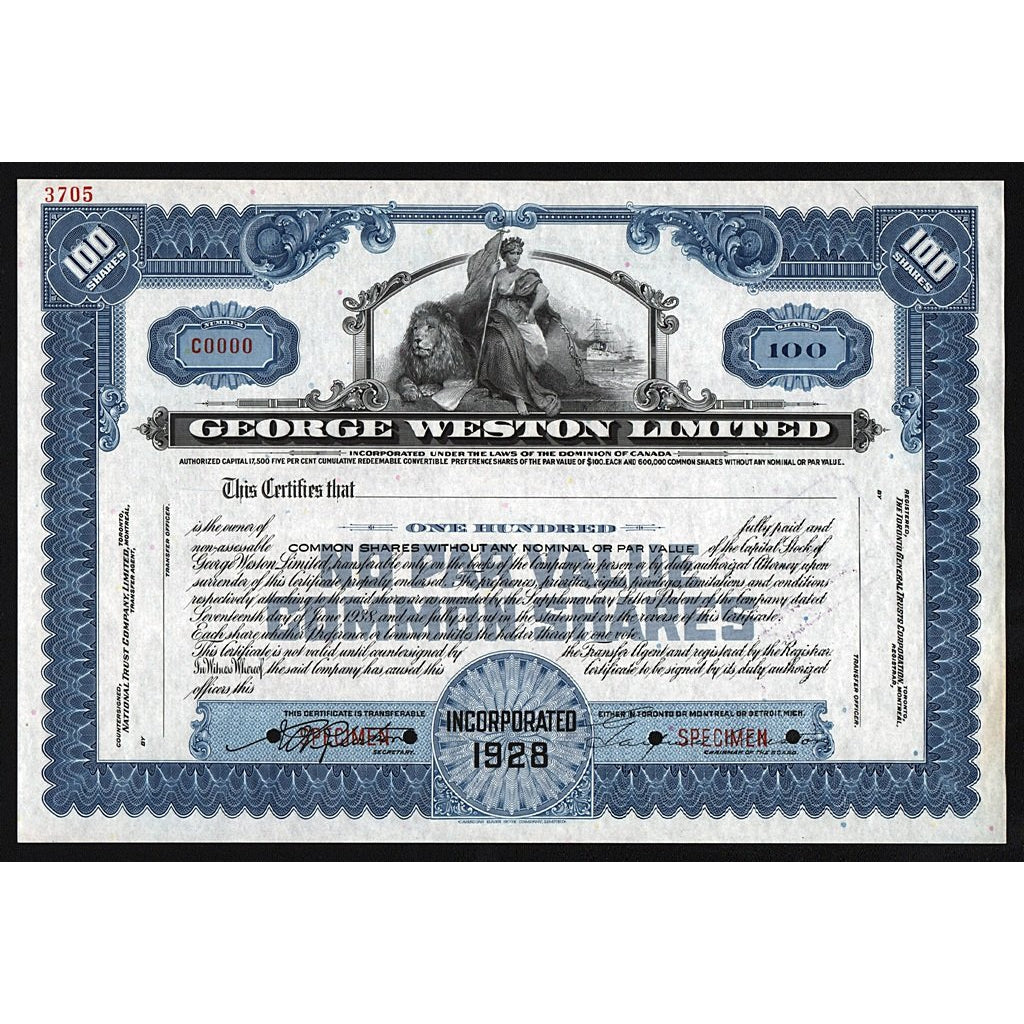George Weston Limited (Specimen) Stock Certificate