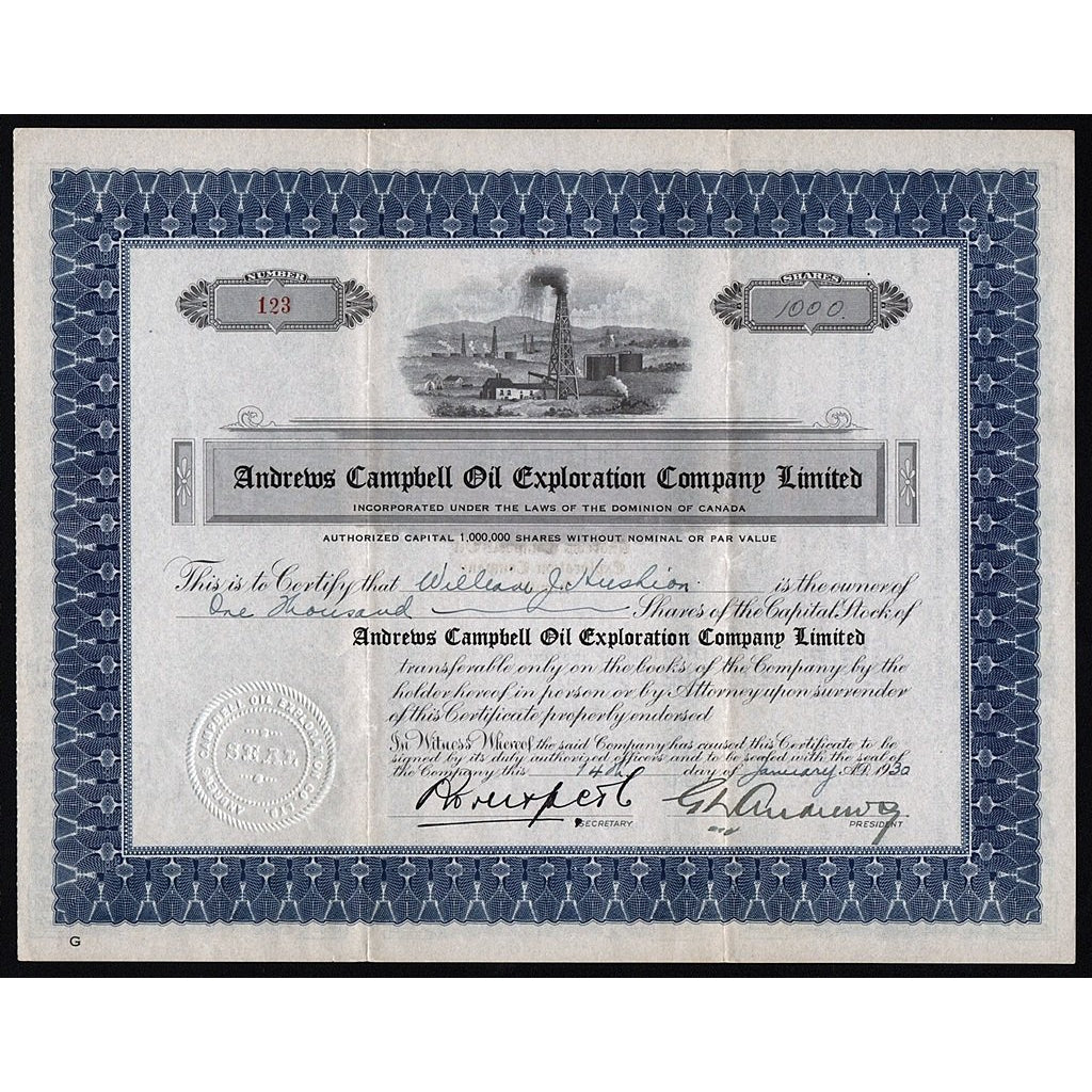 Andrews Campbell Oil Exploration Company Limited 1930 Canada Stock Certificate (William James Hushion)