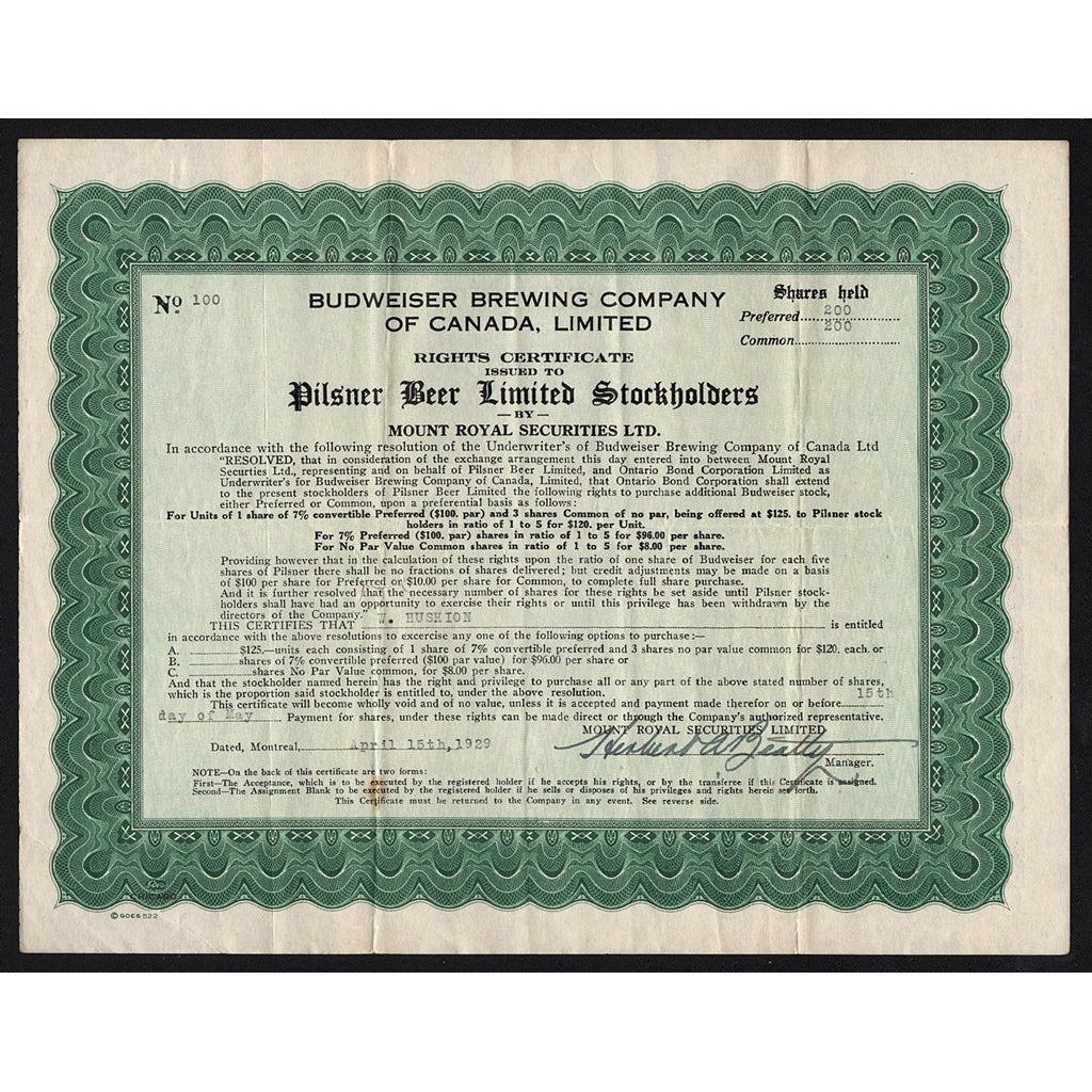 Budweiser Brewing Company of Canada, Limited 1929 Stock Certificate (William James Hushion)