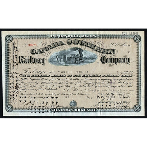 Canada Southern Railway Company 1946 Stock Certificate