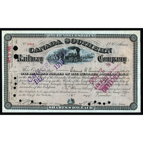 Canada Southern Railway Company 1913 Stock Certificate