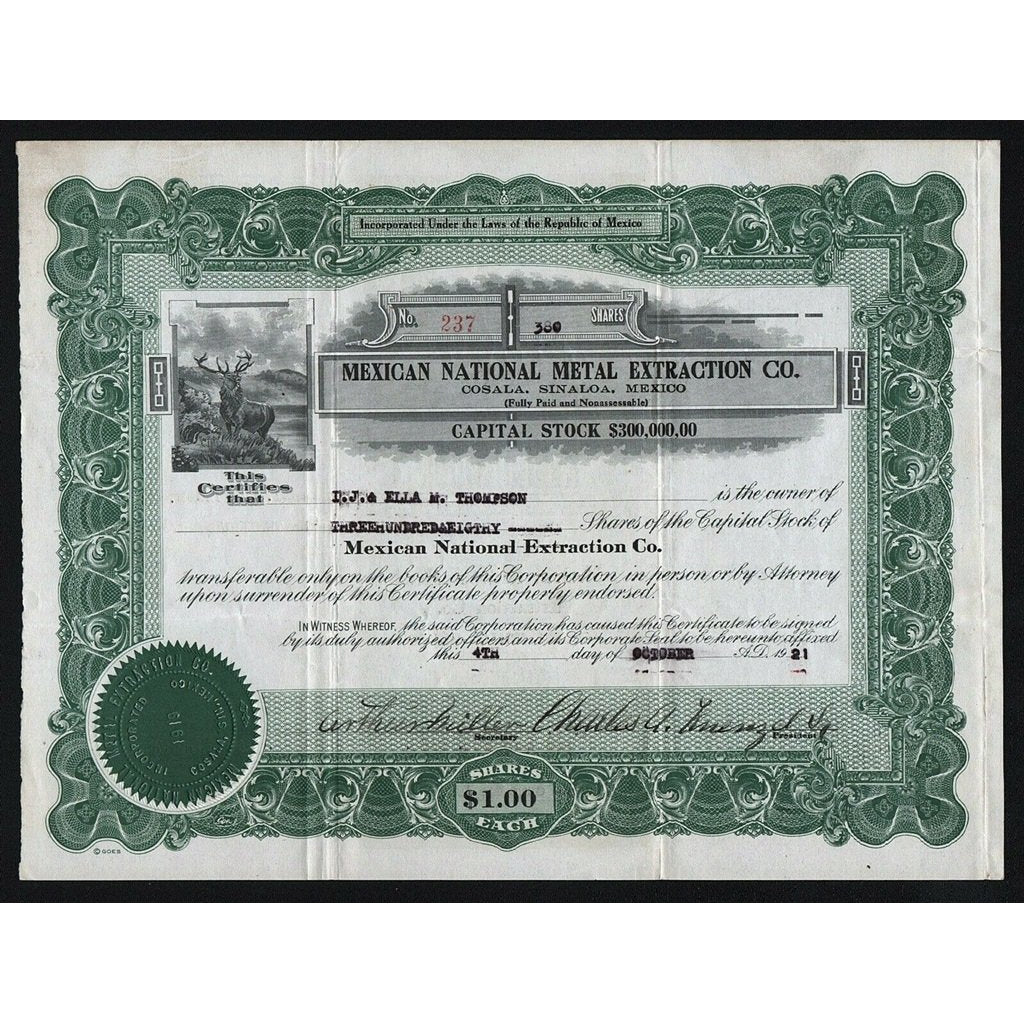 Mexican National Metal Extraction Co. 1921 Mexico Stock Certificate