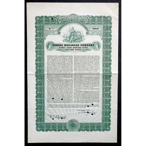 Sierra Railroad Company 1936 California Bond Certificate