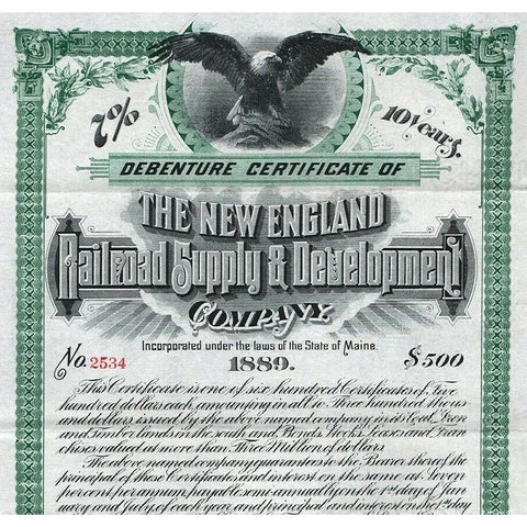 The New England Railroad Supply & Development Company 1889 Kittery, Maine Debenture