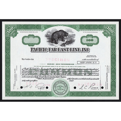 Pacific Far East Line, Inc. Specimen Navigation Stock Certificate