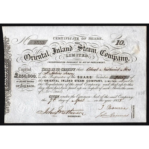 The Oriental Inland Steam Company, Limited Stock Certificate
