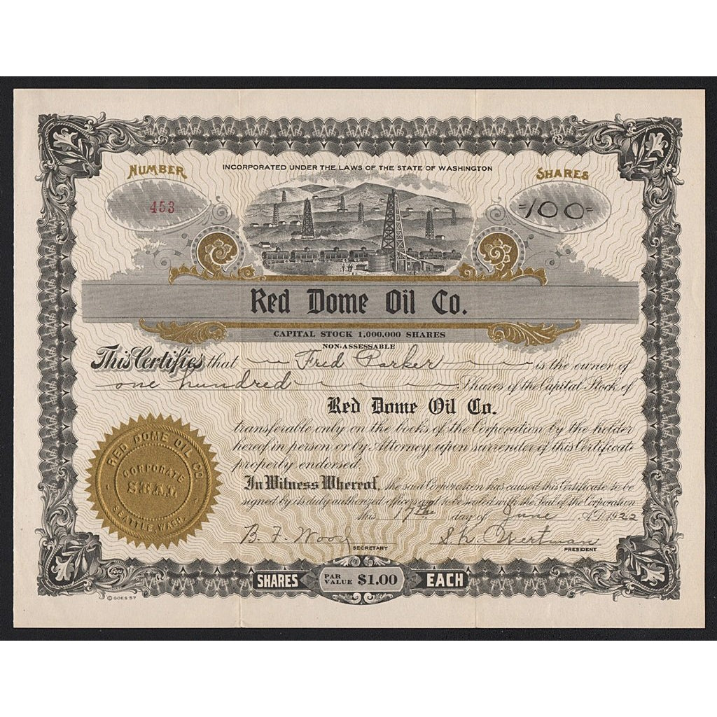 Red Dome Oil Company Washington Stock Certificate